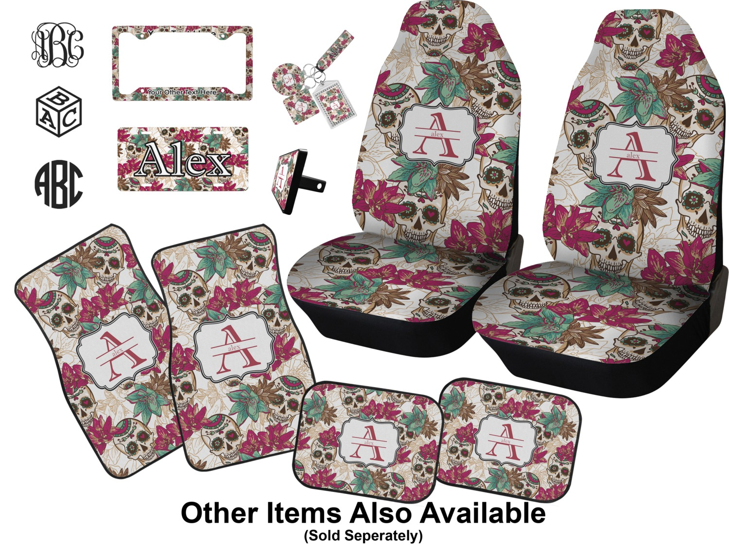 Sugar Skulls Flowers Car Accessories Set Personalized