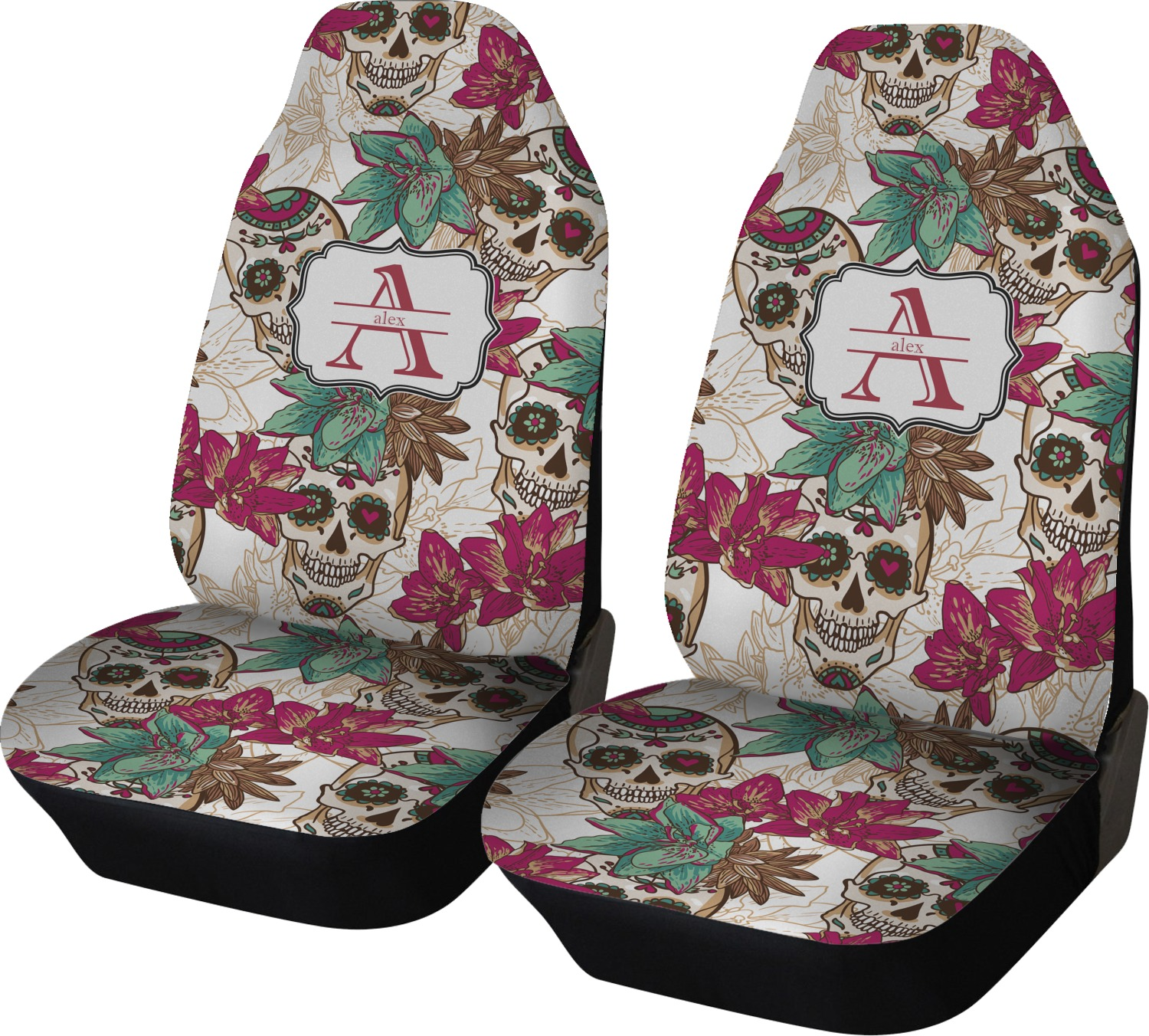 Amazing Sugar Skulls Flowers Car Seat Covers Set Of Two Personalized Machost Co Dining Chair Design Ideas Machostcouk