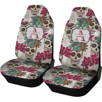 sugar skulls flowers car seat covers set of two personalized youcustomizeit. Black Bedroom Furniture Sets. Home Design Ideas