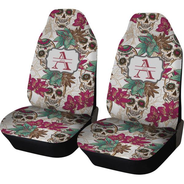 Sugar Skulls Amp Flowers Custom Car Seat Covers Set Of Two