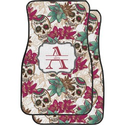 Sugar Skulls & Flowers Car Floor Mats (Front Seat) (Personalized)