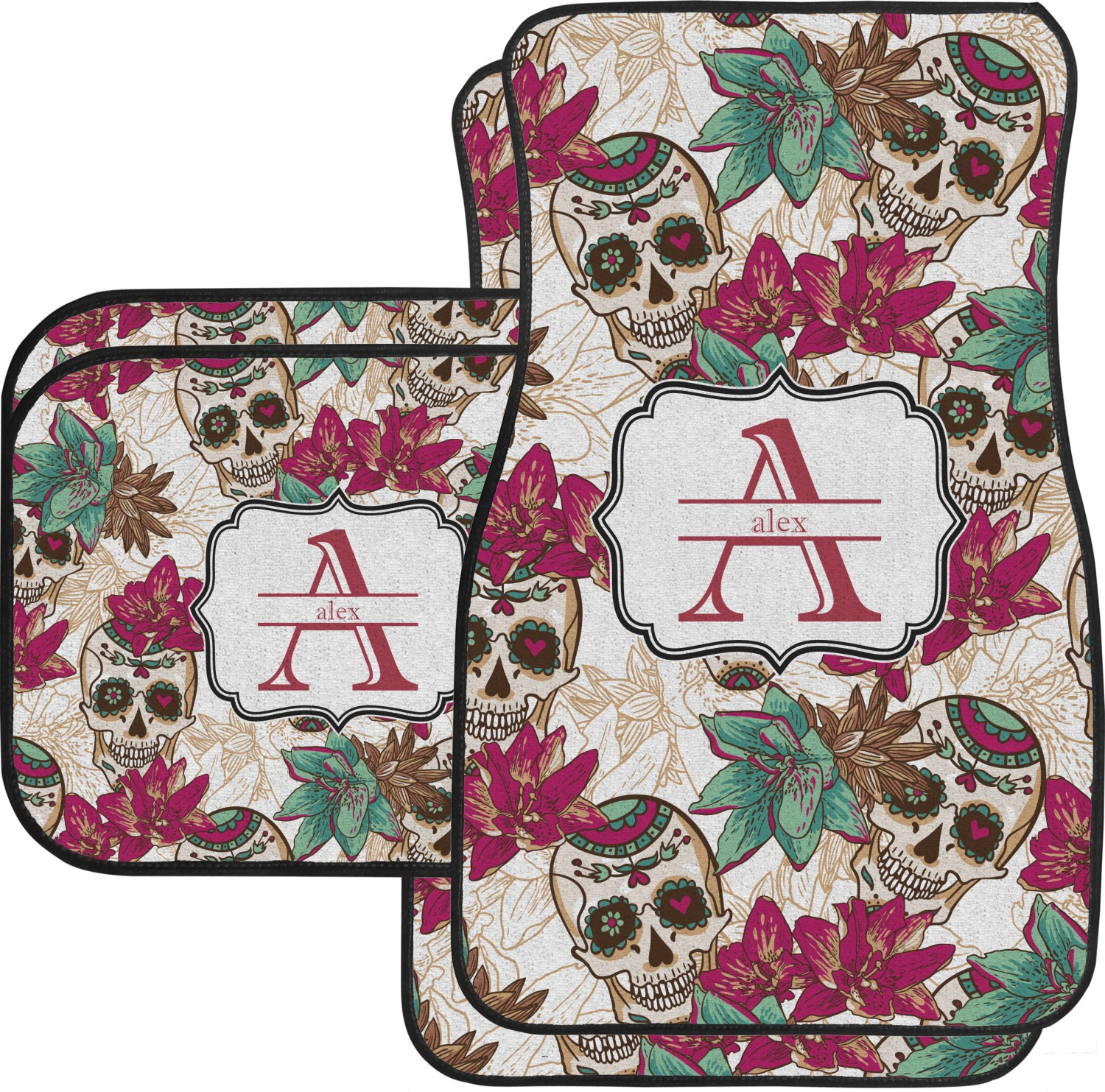 Sugar Skulls Flowers Car Floor Mats Set