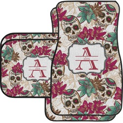 Sugar Skulls & Flowers Car Floor Mats Set - 2 Front & 2 Back (Personalized)