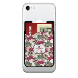 Sugar Skulls & Flowers Cell Phone Credit Card Holder (Personalized)