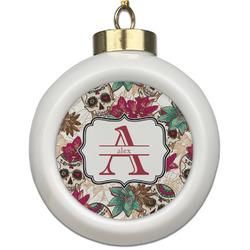 Sugar Skulls & Flowers Ceramic Ball Ornament (Personalized)