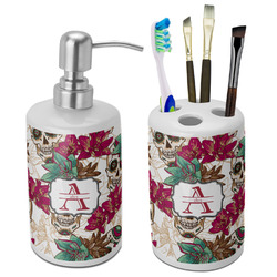 Sugar Skulls & Flowers Bathroom Accessories Set (Ceramic) (Personalized)