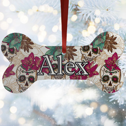 Sugar Skulls & Flowers Ceramic Dog Ornaments w/ Name and Initial