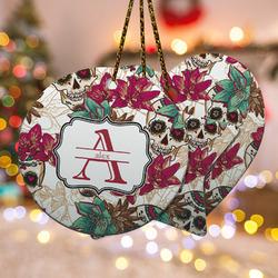 Sugar Skulls & Flowers Ceramic Ornament w/ Name and Initial
