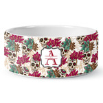 Sugar Skulls & Flowers Ceramic Dog Bowl (Personalized)