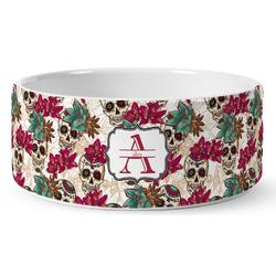 Sugar Skulls & Flowers Ceramic Dog Bowl (Personalized)