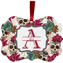 Sugar Skulls & Flowers Ornament (Personalized)