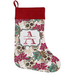 Sugar Skulls & Flowers Holiday Stocking w/ Name and Initial