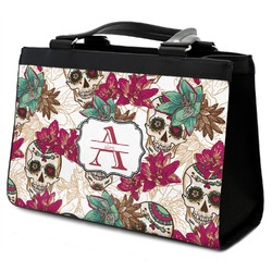 Sugar Skulls & Flowers Classic Tote Purse w/ Leather Trim (Personalized)