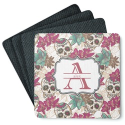 Sugar Skulls & Flowers Square Rubber Backed Coasters - Set of 4 (Personalized)