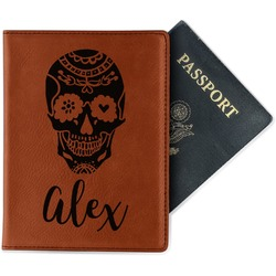Sugar Skulls & Flowers Leatherette Passport Holder (Personalized)