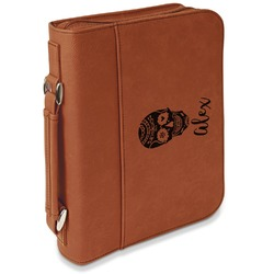 Sugar Skulls & Flowers Leatherette Bible Cover with Handle & Zipper - Large- Single Sided (Personalized)