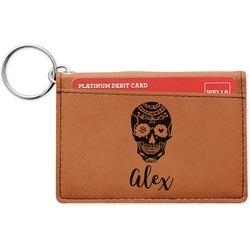 Sugar Skulls & Flowers Leatherette Keychain ID Holder (Personalized)