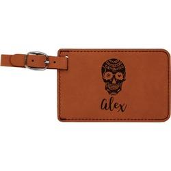 Sugar Skulls & Flowers Leatherette Luggage Tag (Personalized)