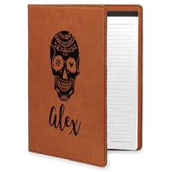 Sugar Skulls & Flowers Leatherette Portfolio with Notepad - Large - Single Sided (Personalized)