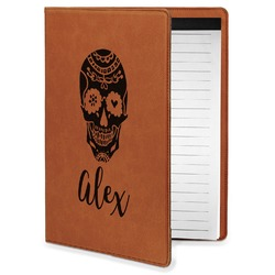 Sugar Skulls & Flowers Leatherette Portfolio with Notepad - Small - Single Sided (Personalized)