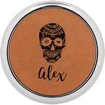 Sugar Skulls & Flowers Leatherette Round Coaster w/ Silver Edge - Single or Set (Personalized)