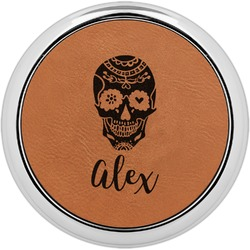 Sugar Skulls & Flowers Leatherette Round Coaster w/ Silver Edge - Single or Set (Personalized)