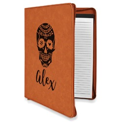 Sugar Skulls & Flowers Leatherette Zipper Portfolio with Notepad (Personalized)