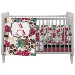 Sugar Skulls & Flowers Crib Comforter / Quilt (Personalized)