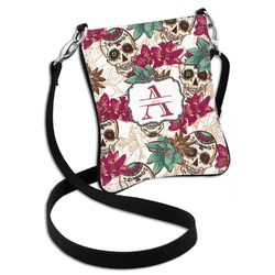 Sugar Skulls & Flowers Cross Body Bag - 2 Sizes (Personalized)