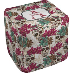"Sugar Skulls & Flowers Cube Pouf Ottoman - 18"" (Personalized)"
