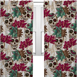 Sugar Skulls & Flowers Curtains (2 Panels Per Set) (Personalized)