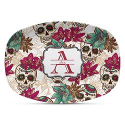 Sugar Skulls & Flowers Plastic Platter - Microwave & Oven Safe Composite Polymer (Personalized)
