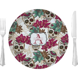 """Sugar Skulls & Flowers Glass Lunch / Dinner Plates 10"""" - Single or Set (Personalized)"""