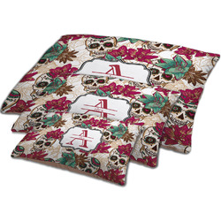 Sugar Skulls & Flowers Dog Bed w/ Name and Initial