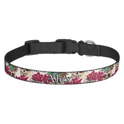 Sugar Skulls & Flowers Dog Collar - Multiple Sizes (Personalized)
