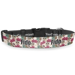 """Sugar Skulls & Flowers Deluxe Dog Collar - Extra Large (16"""" to 27"""") (Personalized)"""