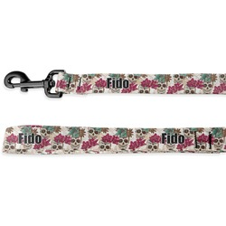Sugar Skulls & Flowers Deluxe Dog Leash (Personalized)