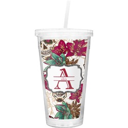 Sugar Skulls & Flowers Double Wall Tumbler with Straw (Personalized)