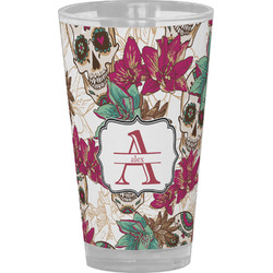 Sugar Skulls & Flowers Drinking / Pint Glass (Personalized)