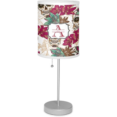 """Sugar Skulls & Flowers 7"""" Drum Lamp with Shade (Personalized)"""