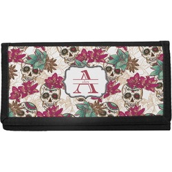 Sugar Skulls & Flowers Canvas Checkbook Cover (Personalized)