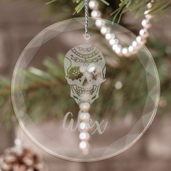 Sugar Skulls & Flowers Engraved Glass Ornament (Personalized)