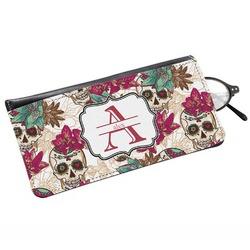 Sugar Skulls & Flowers Genuine Leather Eyeglass Case (Personalized)