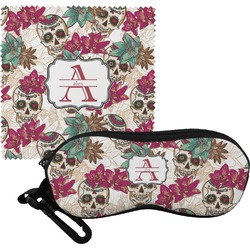 Sugar Skulls & Flowers Eyeglass Case & Cloth (Personalized)