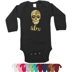 Sugar Skulls & Flowers Foil Bodysuit - Long Sleeves - Gold, Silver or Rose Gold (Personalized)