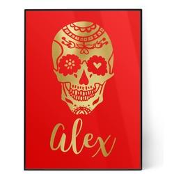 Sugar Skulls & Flowers 5x7 Red Foil Print (Personalized)