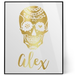 Sugar Skulls & Flowers 8x10 Foil Wall Art - White (Personalized)