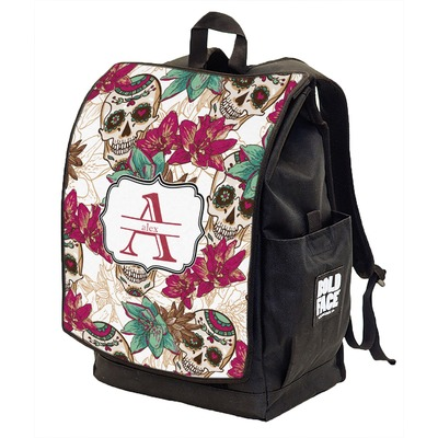 Sugar Skulls & Flowers Backpack w/ Front Flap  (Personalized)