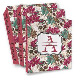 Sugar Skulls & Flowers 3 Ring Binder - Full Wrap (Personalized)