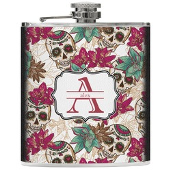 Sugar Skulls & Flowers Genuine Leather Flask (Personalized)